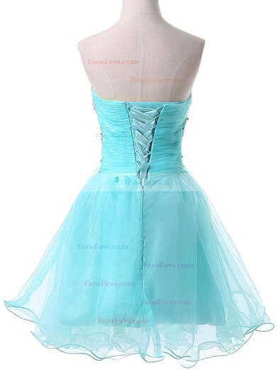 A-line Sweetheart Short/Mini Satin Organza Prom Dresses with Beading Ruffle #Favs02051736