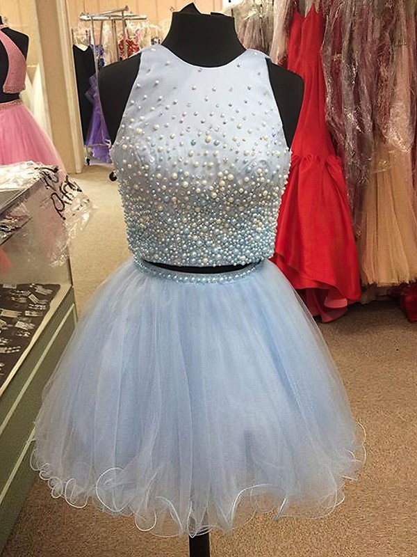 Princess Scoop Neck Short/Mini Satin Tulle Prom Dresses with Pearl Detailing #Favs020102539