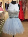 Princess Scoop Neck Satin Tulle Short/Mini Pearl Detailing Two Piece Homecoming Dresses #Favs020102539