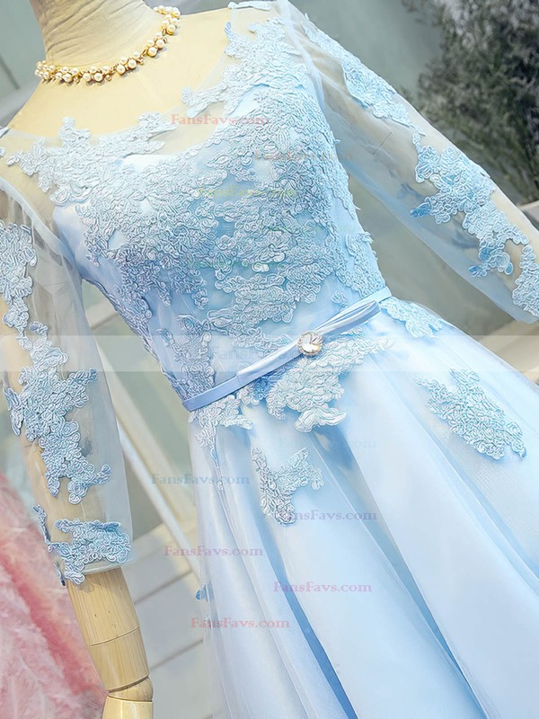 Sweet A-line Scoop Neck Satin Tulle Short/Mini Appliques Lace 3/4 Sleeve Prom Dresses #Favs020103779