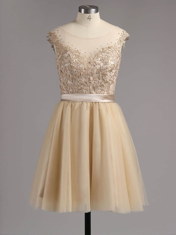 A-line Scoop Neck Satin Tulle Short/Mini Appliques Lace Homecoming Dresses #Favs02016005