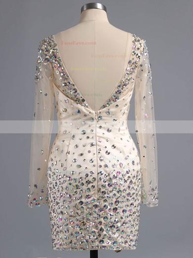 Sheath/Column Scoop Neck Short/Mini Satin Tulle Prom Dresses with Beading #Favs02016332
