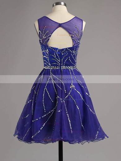 A-line Scoop Neck Short/Mini Satin Tulle Prom Dresses with Beading Ruffle #Favs02016341