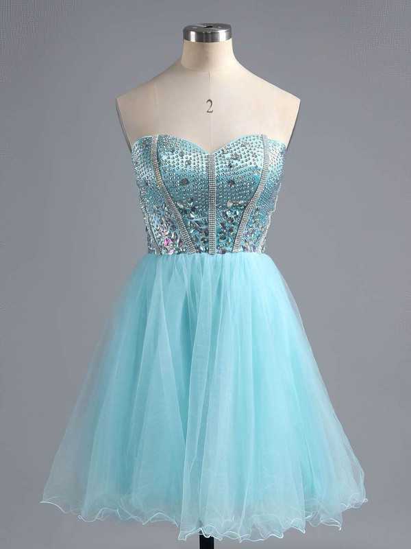 A-line Sweetheart Short/Mini Satin Tulle Prom Dresses with Ruffle #Favs02016385
