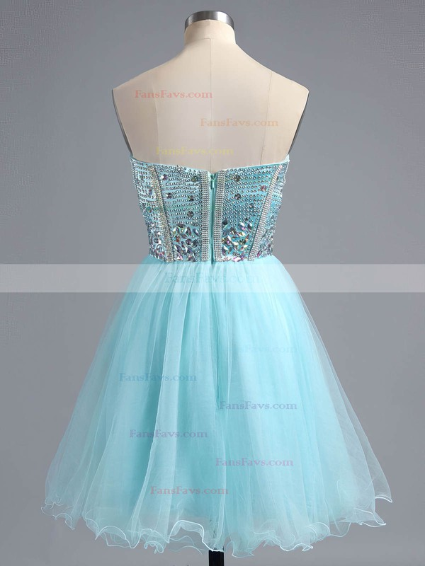 A-line Sweetheart Satin Tulle Short/Mini Ruffles Homecoming Dresses #Favs02016385