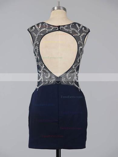 Dark Navy Sheath/Column Scoop Neck Silk-like Satin Short/Mini Beading Open Back Homecoming Dresses #Favs020101761