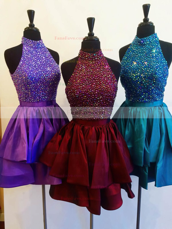 A-line High Neck Short/Mini Taffeta Prom Dresses with Sashes Beading #Favs020103470