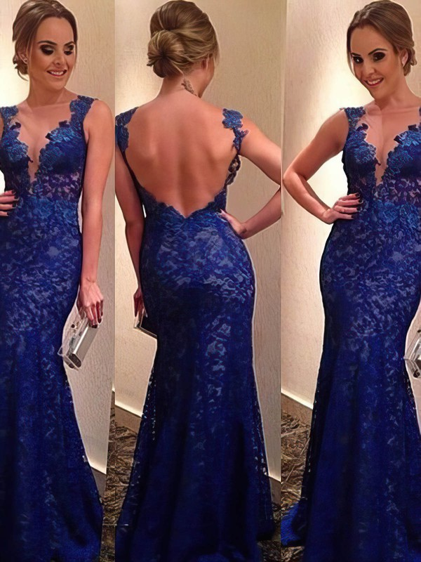Trumpet/Mermaid V-neck Floor-length Lace Prom Dresses with Appliques Lace Ruffle #Favs02016054