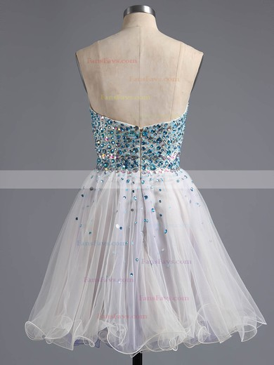 A-line Sweetheart Short/Mini Tulle Prom Dresses with Beading #Favs020100672