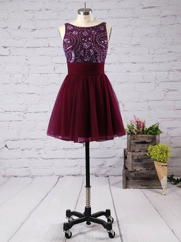 A-line Scoop Neck Short/Mini Tulle Prom Dresses with Beading Bow #Favs020100759