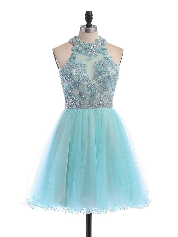 Short/Mini A-line Scoop Neck Tulle Beading Open Back Amazing Homecoming Dresses #Favs020100862
