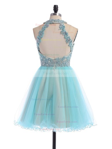 A-line Scoop Neck Short/Mini Tulle Prom Dresses with Appliques Lace Beading #Favs020100862