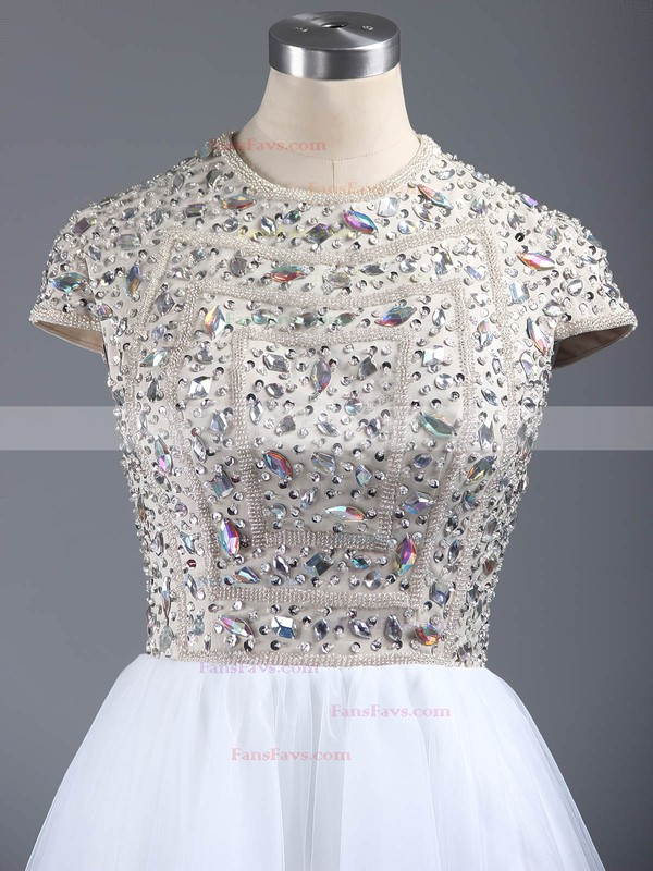 Short/Mini A-line Scoop Neck Tulle Crystal Detailing Short Sleeve Homecoming Dresses #Favs020101147