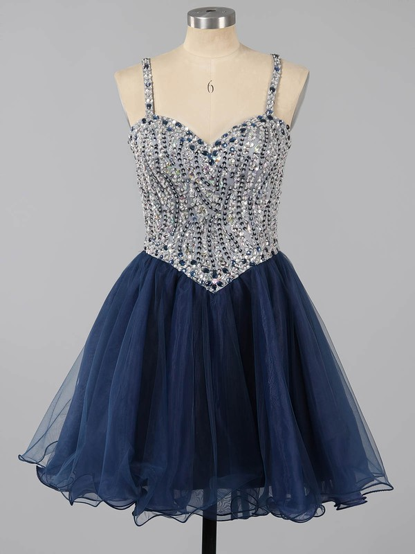 Beautiful A-line Sweetheart Tulle Short/Mini Beading Dark Navy Homecoming Dresses #Favs020101149