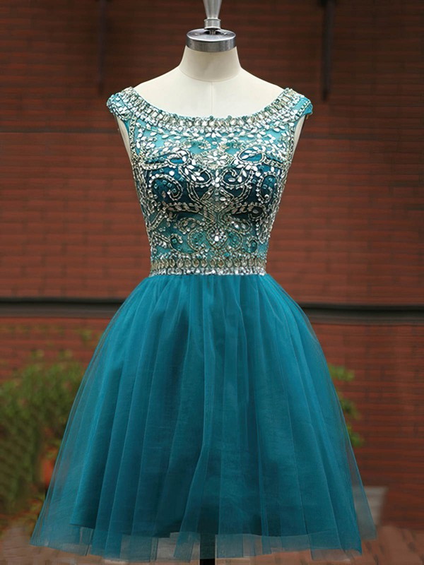 A-line Scoop Neck Short/Mini Tulle Prom Dresses with Beading #Favs020101492