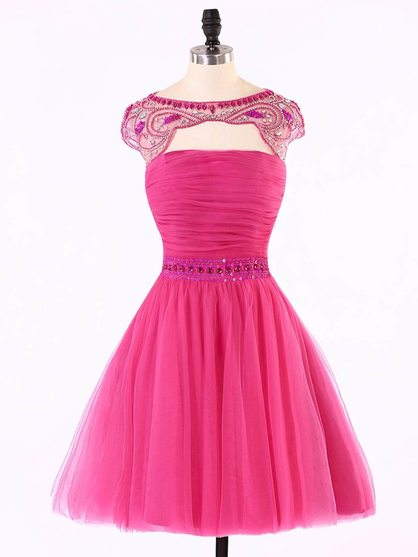 A-line Scoop Neck Short/Mini Tulle Prom Dresses with Beading #Favs020101624