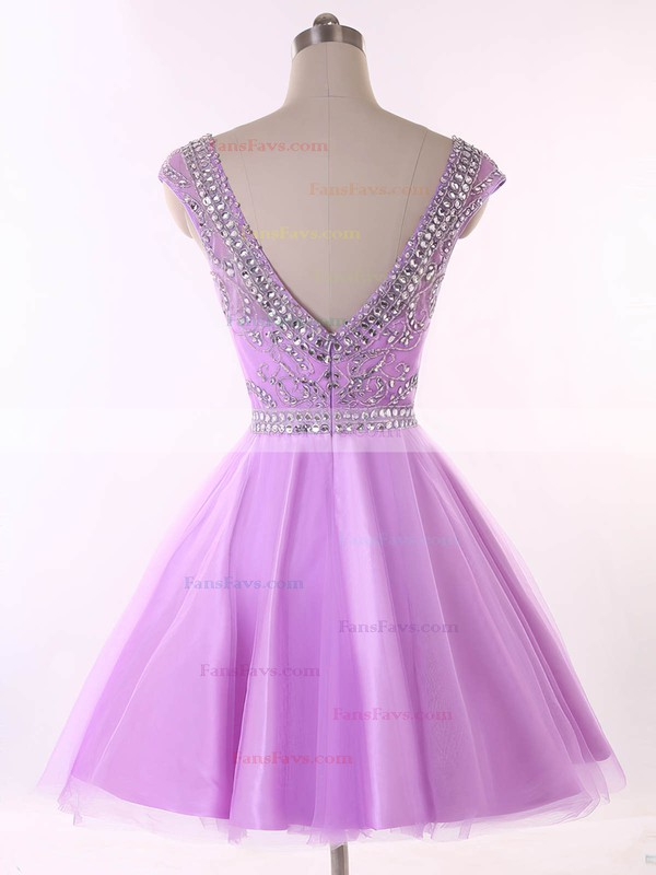 Backless Scoop Neck Lavender Tulle Beading Short/Mini Prom Dresses #Favs020101650