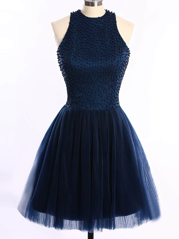 Short/Mini Scoop Neck Dark Navy Tulle Pearl Detailing Open Back Prom Dresses #Favs020101654
