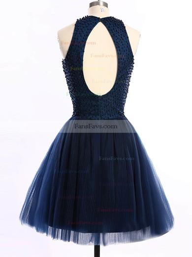 Short/Mini Scoop Neck Dark Navy Tulle Pearl Detailing Open Back Prom Dresses #Favs020101654