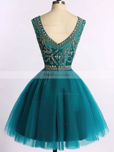 Scoop Neck Sparkly Dark Green Tulle Beading Short/Mini Prom Dress #Favs020101675