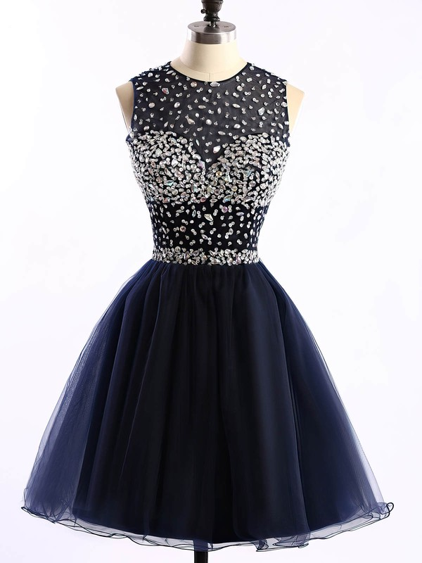 A-line Scoop Neck Short/Mini Tulle Prom Dresses with Sequins #Favs020101677