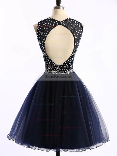 Short/Mini Scoop Neck Dark Navy Tulle Crystal Detailing Open Back Prom Dress #Favs020101677