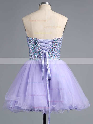 A-line Sweetheart Short/Mini Tulle Prom Dresses with Beading #Favs020101758