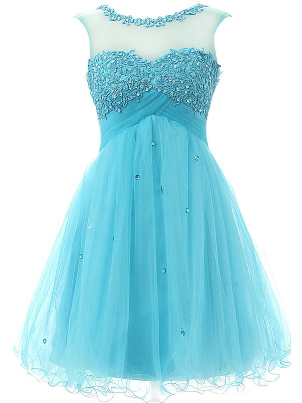 A-line Scoop Neck Short/Mini Tulle Prom Dresses with Appliques Lace Beading #Favs020101797
