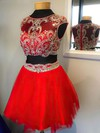 Two Piece Red Scoop Neck Tulle Beading Short/Mini Prom Dresses #Favs020102039