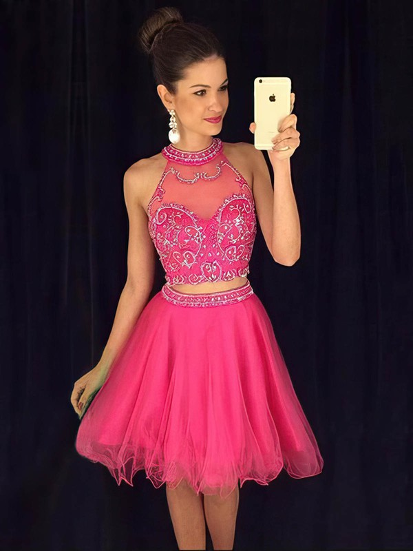 Two Piece A-line High Neck Tulle Short/Mini Beading Online Prom Dresses #Favs020102424