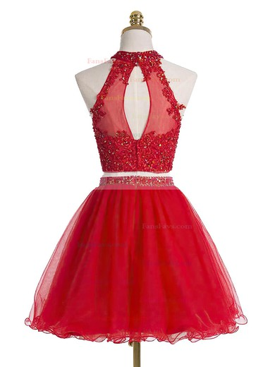 A-line High Neck Tulle Short/Mini Sequins Homecoming Dresses #Favs020102432