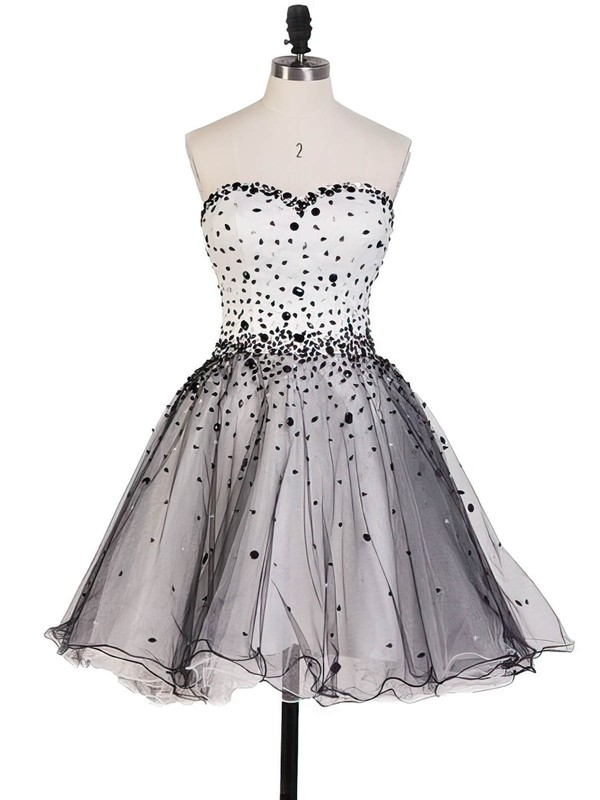 A-line Sweetheart Tulle Short/Mini Beading Homecoming Dresses #Favs020102560