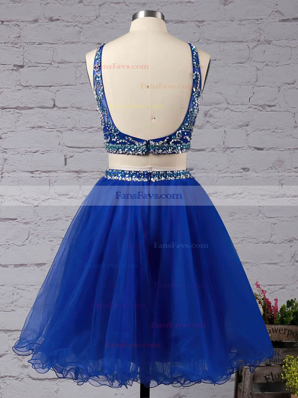 Two Piece Short/Mini A-line Scoop Neck Tulle Beading Royal Blue Backless Prom Dress #Favs020102726