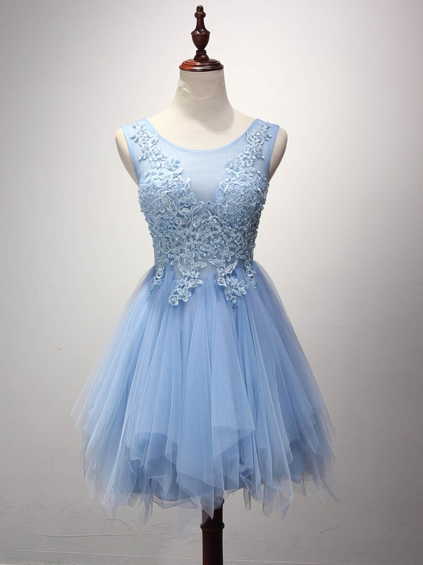 Cute A-line Scoop Neck Tulle Short/Mini Pearl Detailing Prom Dresses #Favs020102909