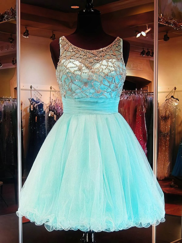 A-line Scoop Neck Short/Mini Tulle Prom Dresses with Beading Ruffle #Favs020102911