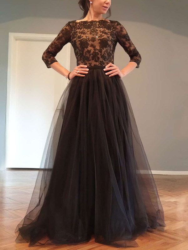 A-line Scoop Neck Floor-length Tulle Prom Dresses with Beading Bow #Favs02016844