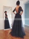 A-line Scoop Neck Tulle Floor-length Beading Prom Dresses #Favs02016844