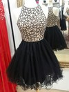 A-line Scoop Neck Tulle Short/Mini Beading Black Glamorous Prom Dresses #Favs020103024