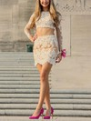 Latest Sheath/Column Scoop Neck Tulle Short/Mini Appliques Lace Two Piece Long Sleeve Prom Dresses #Favs020103328