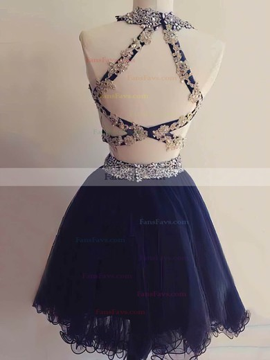 A-line Scoop Neck Short/Mini Tulle Prom Dresses with Appliques Lace Beading #Favs020103655