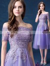 Nice A-line Off-the-shoulder Tulle Tea-length Appliques Lace Short Sleeve Prom Dresses #Favs020103701