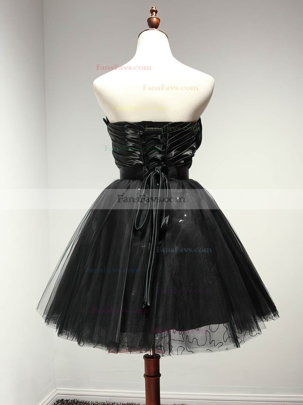 A-line Sweetheart Tulle Short/Mini Sashes / Ribbons Black Girls Prom Dresses #Favs020103728