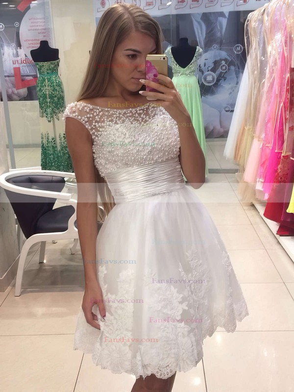A-line Scoop Neck Short/Mini Tulle Prom Dresses with Appliques Lace Ruffle #Favs020104126