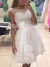 A-line Scoop Neck Tulle Short/Mini Appliques Lace Prom Dresses #Favs020104126