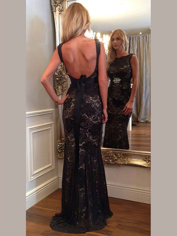 Trumpet/Mermaid Scoop Neck Lace Sweep Train Sashes / Ribbons Prom Dresses #Favs02018946