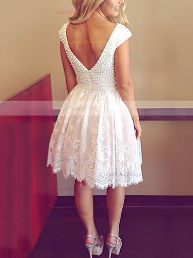 A-line Scoop Neck Tulle Short/Mini with Pearl Detailing Prom Dresses #Favs020104127