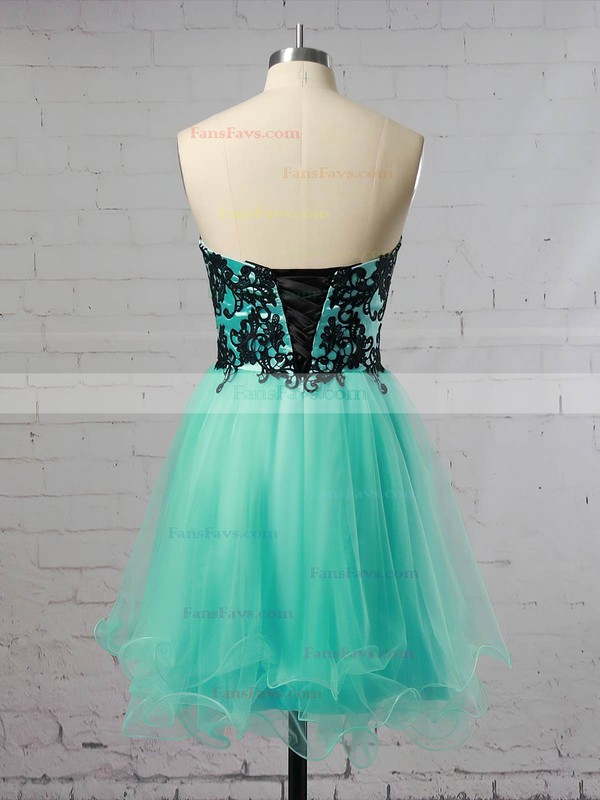 A-line Sweetheart Tulle Short/Mini with Appliques Lace Prom Dresses #Favs020104128