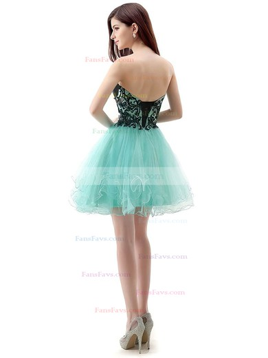 A-line Sweetheart Short/Mini Tulle Prom Dresses with Appliques Lace #Favs020104128