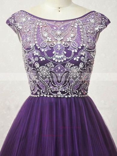 A-line Scoop Neck Tulle Short/Mini with Crystal Detailing Prom Dresses #Favs020104131
