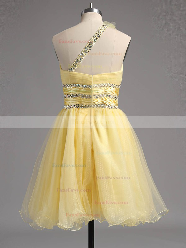 Empire One Shoulder Tulle Short/Mini Beading Homecoming Dresses #Favs02013242